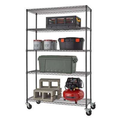 PRO 18 in. x 48 in. x 77 in. Black Anthracite 5 Tier Garage Shelving Unit with Wheels