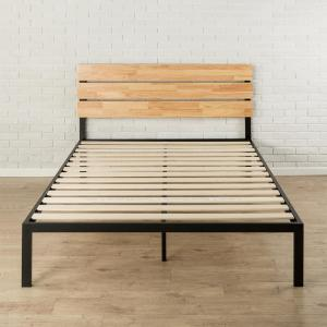 Paul Metal and Wood Platform Bed with Wood Slat Support, Twin