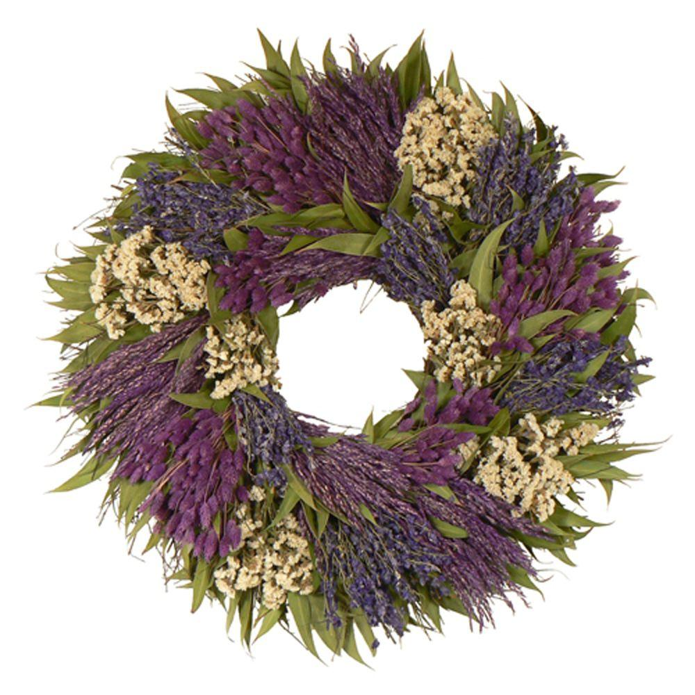 The Christmas Tree Company Variations in Violet 30 in. Dried Floral Wreath-DISCONTINUED