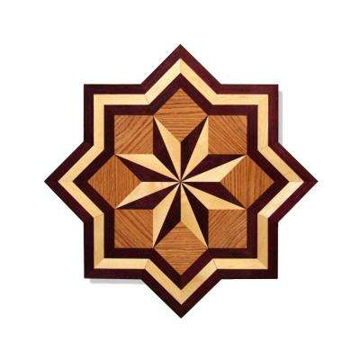 Star Medallion Unfinished Decorative Wood Floor Inlay MS001 - 5 in. x 3 in. Take Home Sample