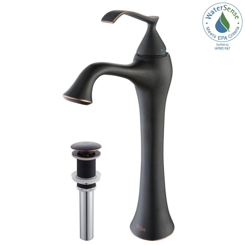 Ventus Single Hole Single-Handle High-Arc Vessel Bathroom Faucet with Matching