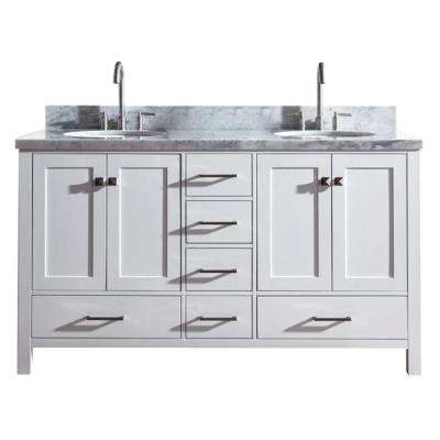 Cambridge 61 in. Bath Vanity in White with Marble Vanity Top in Carrara White with White Basins