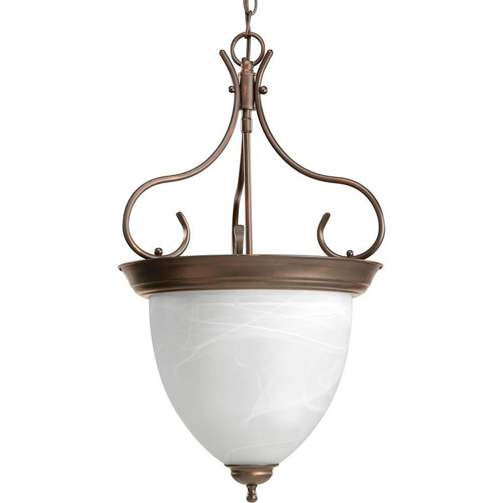 4-Light Antique Bronze Foyer Pendant with Alabaster Glass
