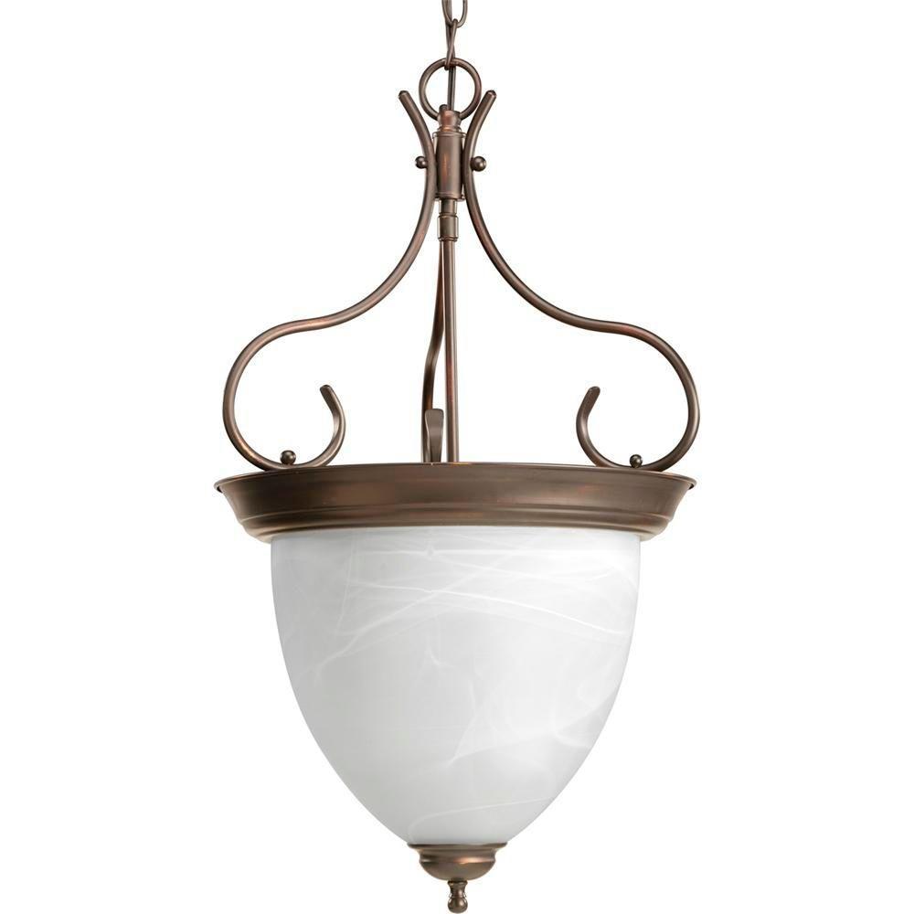 4-Light Antique Bronze Foyer Pendant with Alabaster Glass