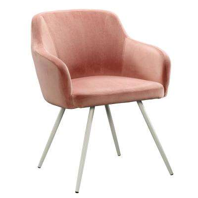 Anda Norr Salmon Pink Velvet Fabric Occasional Chair