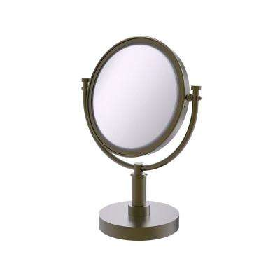 8 in. Vanity Top Make-Up Mirror 5X Magnification in Antique Brass