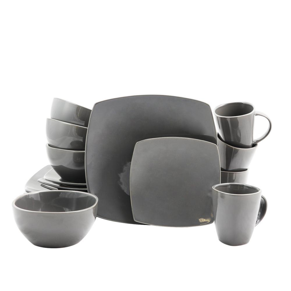 Soho Lounge 16-Piece Gray Dinnerware Set