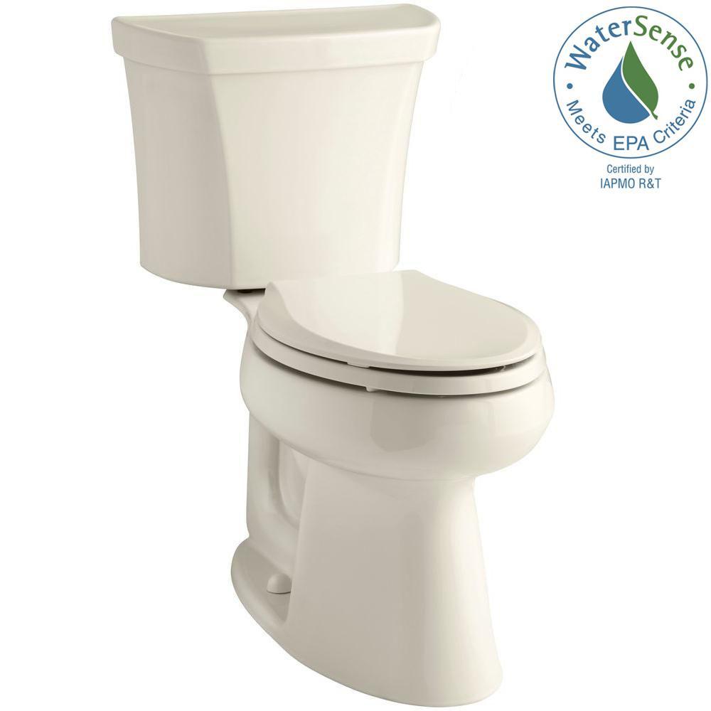 KOHLER Highline 2-Piece 1.28 GPF Single Flush Elongated Toilet in Almond