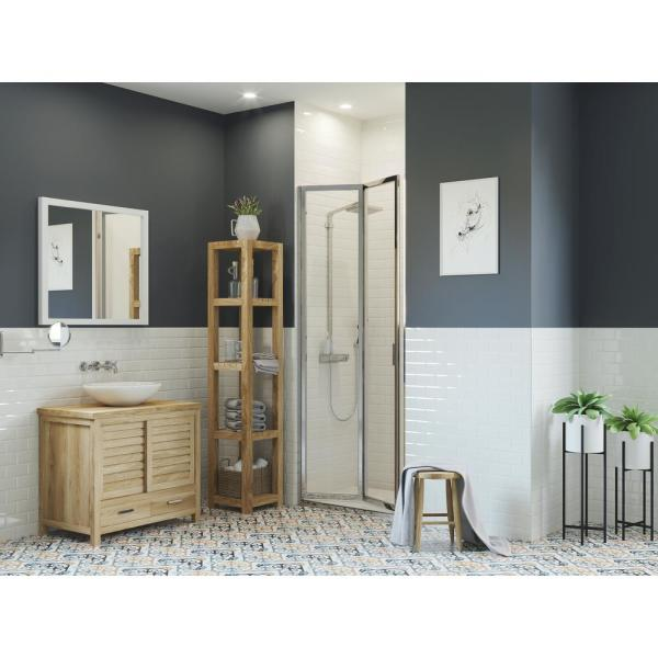 Paragon 36 in. to 36.75 in. x 66 in. Framed Bi-Fold Double Hinged Shower Door in Chrome and Clear Glass