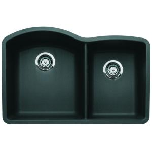 Blanco Diamond Undermount Composite 32 inch 1-3/4 Double Bowl Kitchen Sink in Anthracite by Blanco