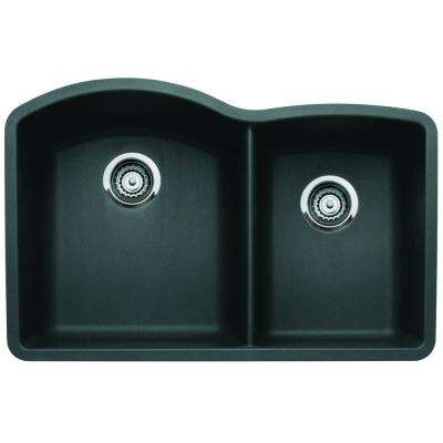 Diamond Undermount Granite Composite 32 in. 0-Hole Double Bowl Kitchen Sink in Anthracite