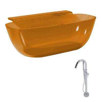 Vida 62 in. Man-Made Stone Classic Flatbottom Non-Whirlpool Bathtub in Honey Amber and Kros Faucet in Chrome