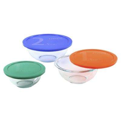 Smart Essentials 6-Piece Glass Mixing Bowl Set with Assorted Colored Lids