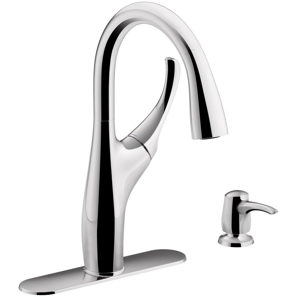 Kohler Mazz Single Handle Pull Down Sprayer Kitchen Faucet In Polished Chrome