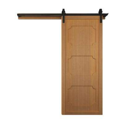 42 in. x 84 in. The Harlow III Sands Wood Barn Door with Sliding Door Hardware Kit