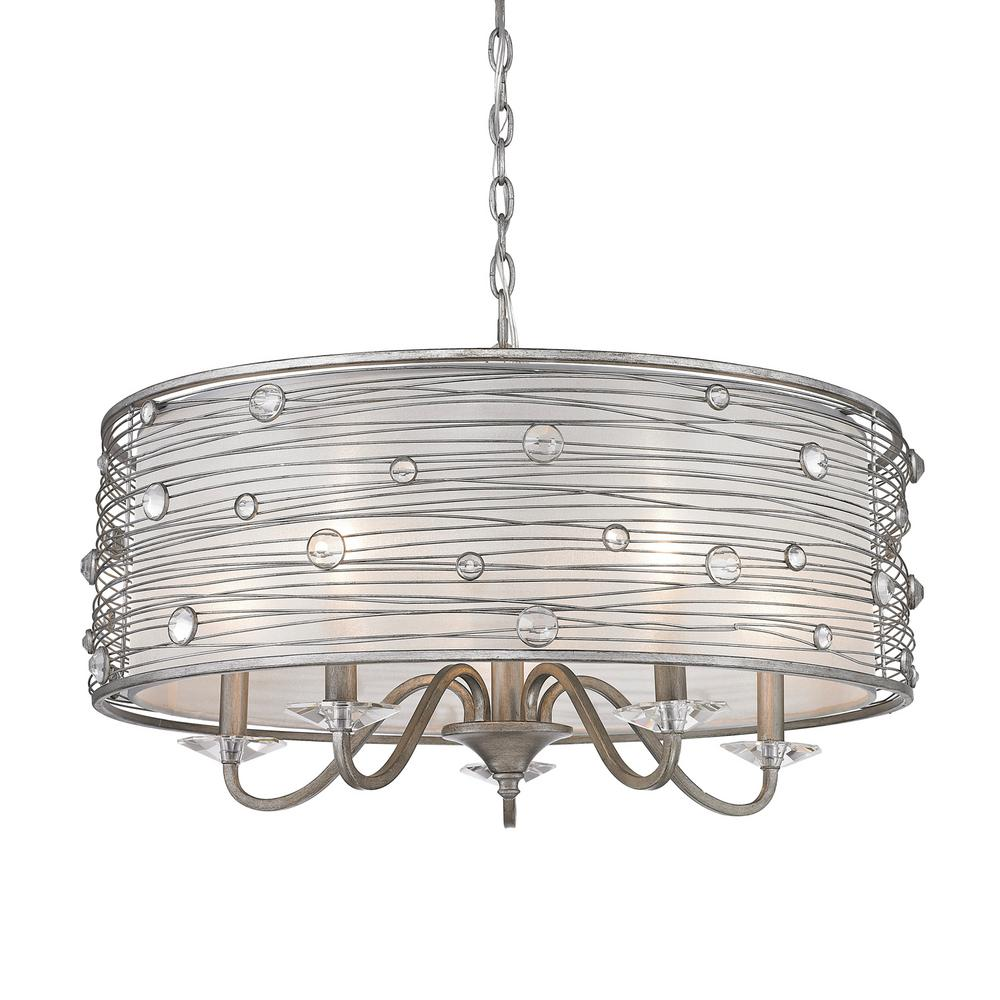 Amalya Collection 5-Light Peruvian Silver Chandelier