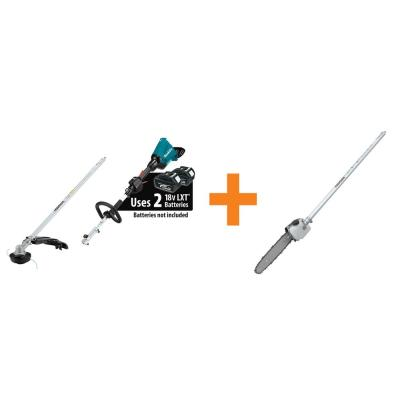 18-Volt X2 (36-Volt) LXT Brushless Couple Shaft Power Head (Tool-Only) with String Trimmer 10 in. Pole Saw Attachment