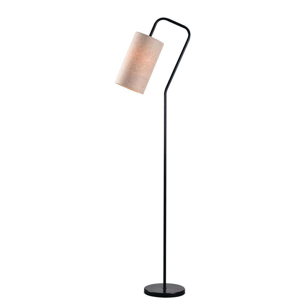 Kenroy Home Flamingo 65 In. Bronze Floor Lamp With Oatmeal Shade