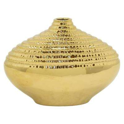 Textured Gold Ceramic Decorative Vase