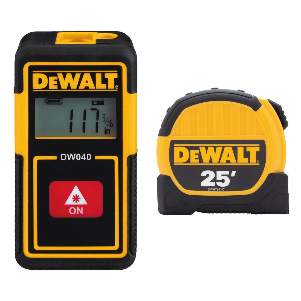 Dewalt 40 ft. Lithium-Ion Rechargeable Pocket Laser Distance Measurer and 25 ft. x 1-1/8 in. Tape Measure