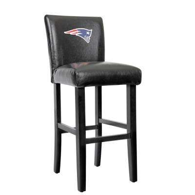 New England Patriots 30 in. Black Bar Stool with Faux Leather Cover (Set of 2)