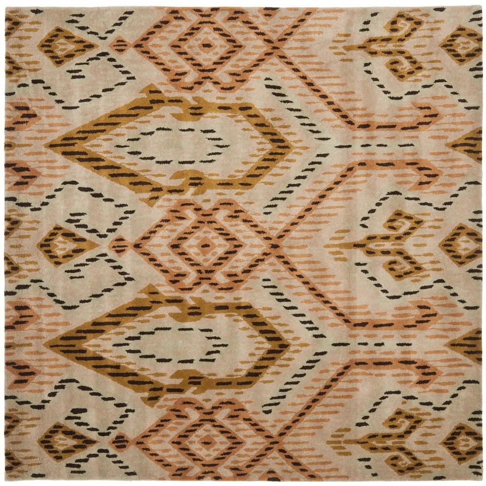 Wyndham Brown/Ivory 7 ft. x 7 ft. Square Area Rug