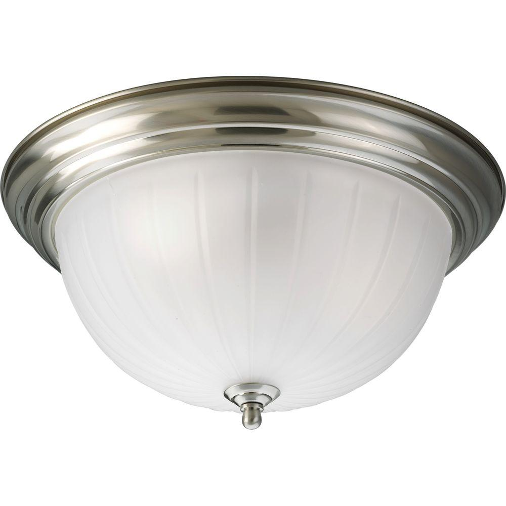 Progress Lighting 3 Light Brushed Nickel Flush Mount With Etched Ribbed Glass P3818 09 The