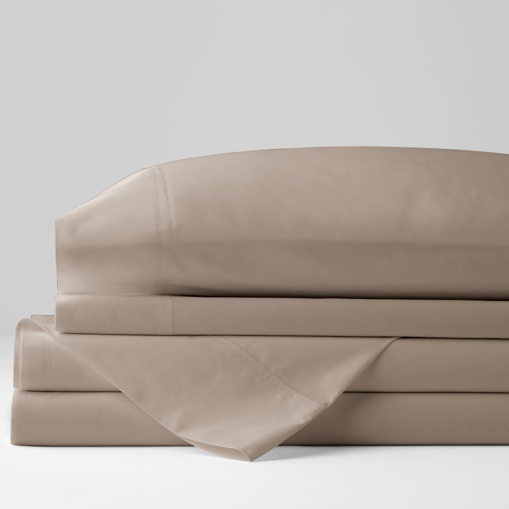 Organic 4-Piece Light Birch Solid 300 Thread Count Cotton Percale Queen Sheet Set