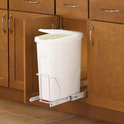 17 in. H x 8 in. W x 20 in. D Steel In-Cabinet 20 Qt. Single Pull-Out Trash Can in White