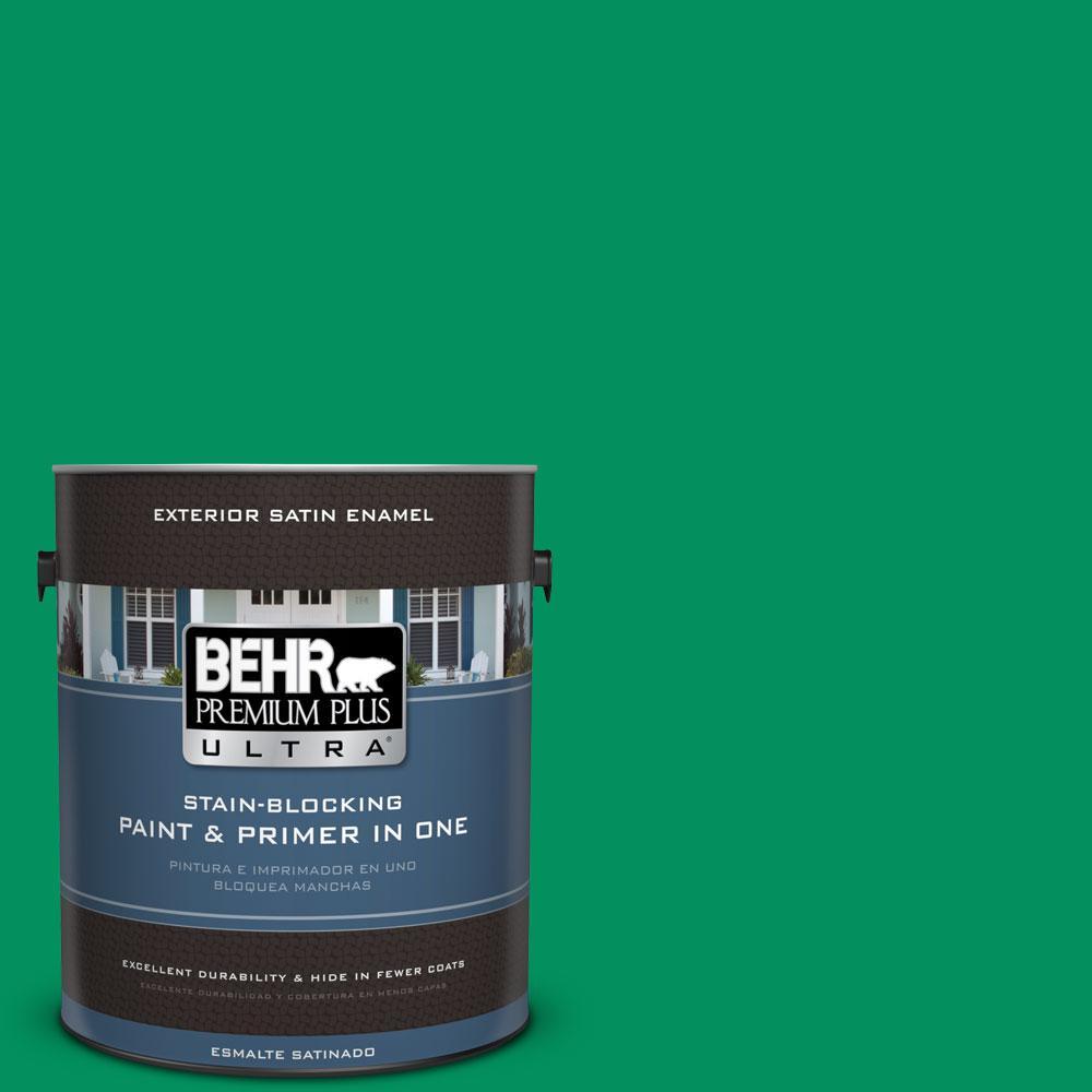 BEHR Premium Plus Ultra 1-gal. #470B-6 Emerald Lake Satin Enamel Exterior Paint
