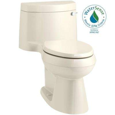Cimarron 1-Piece 1.28 GPF Single Flush Elongated Toilet in Almond (Seat Included)