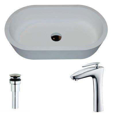 Vaine 1-Piece Man Made Stone Vessel Sink in Matte White with Crown Faucet in Chrome