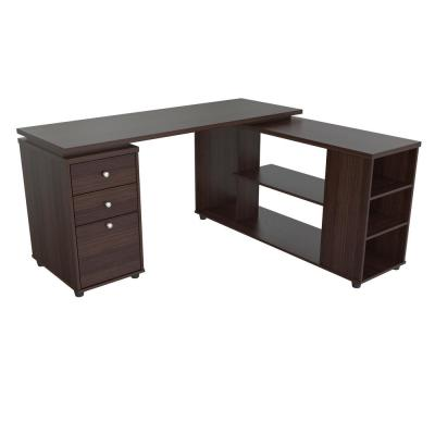 60 in. Espresso L-Shaped 3 -Drawer Computer Desk with Open Storage area