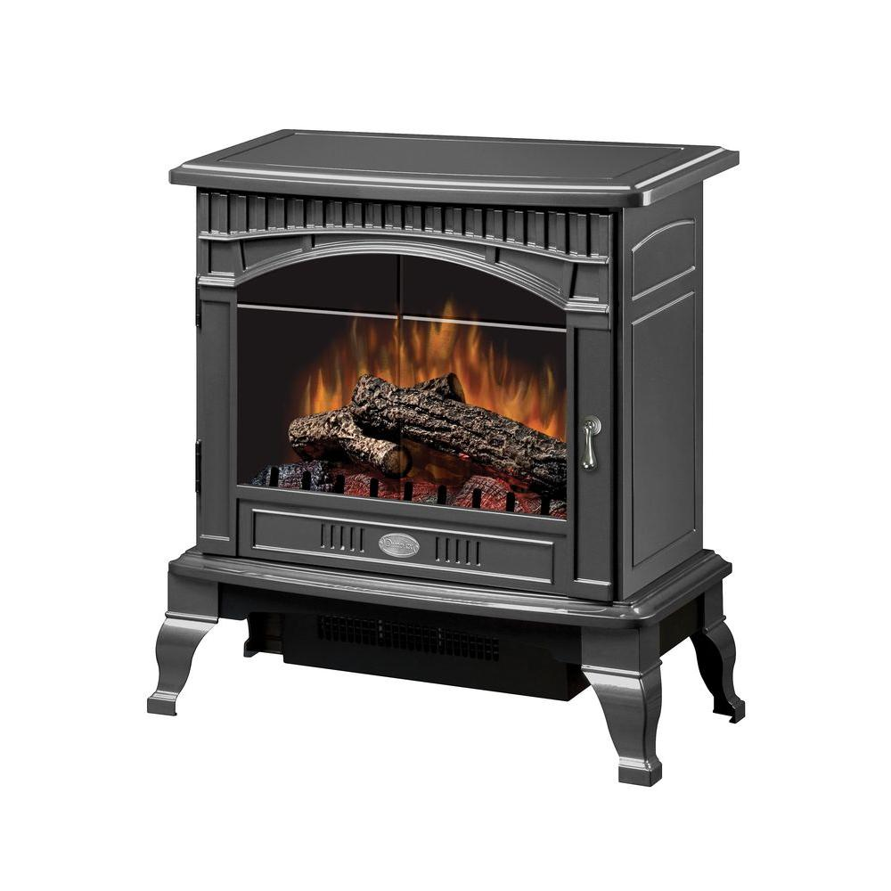 The Dimplex Traditional 400 sq. ft. Electric Stove in Pewter features compact design to fit in smaller spaces. This comes with a bold and contemporary gloss pewter finish. It is convenient to install and includes remote control.