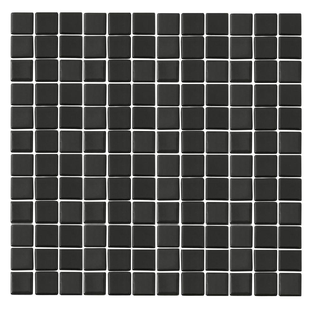 Monoz M-Black-1401 Mosiac Recycled Glass Mesh Mounted Floor and Wall Tile