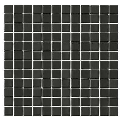 Monoz M-Black-1401 Mosiac Recycled Glass Mesh Mounted Floor and Wall Tile - 3 in. x 3 in. Tile Sample
