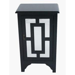 Shelly Assembled 18 in. x 18 in. x 13 in. Black Wood Mirrored Glass Accent Cabinet with a Door