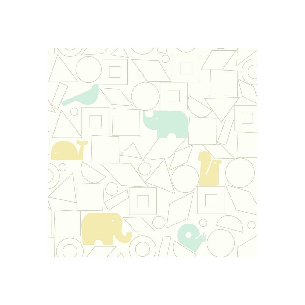 DwellStudio Baby and Kids Animal Blocks Wallpaper