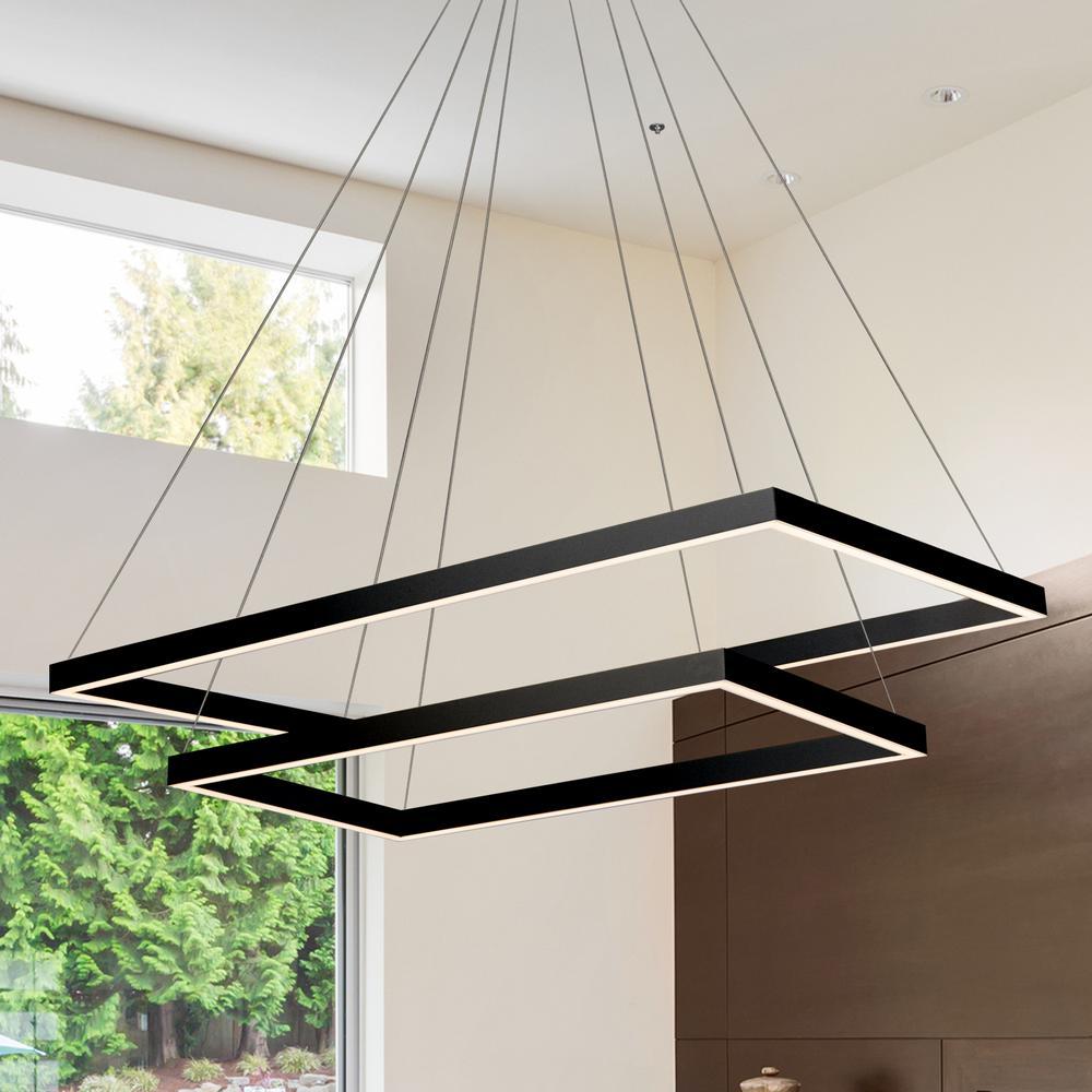 Atria Duo Rectangular 92-Watt Black Integrated LED Chandelier