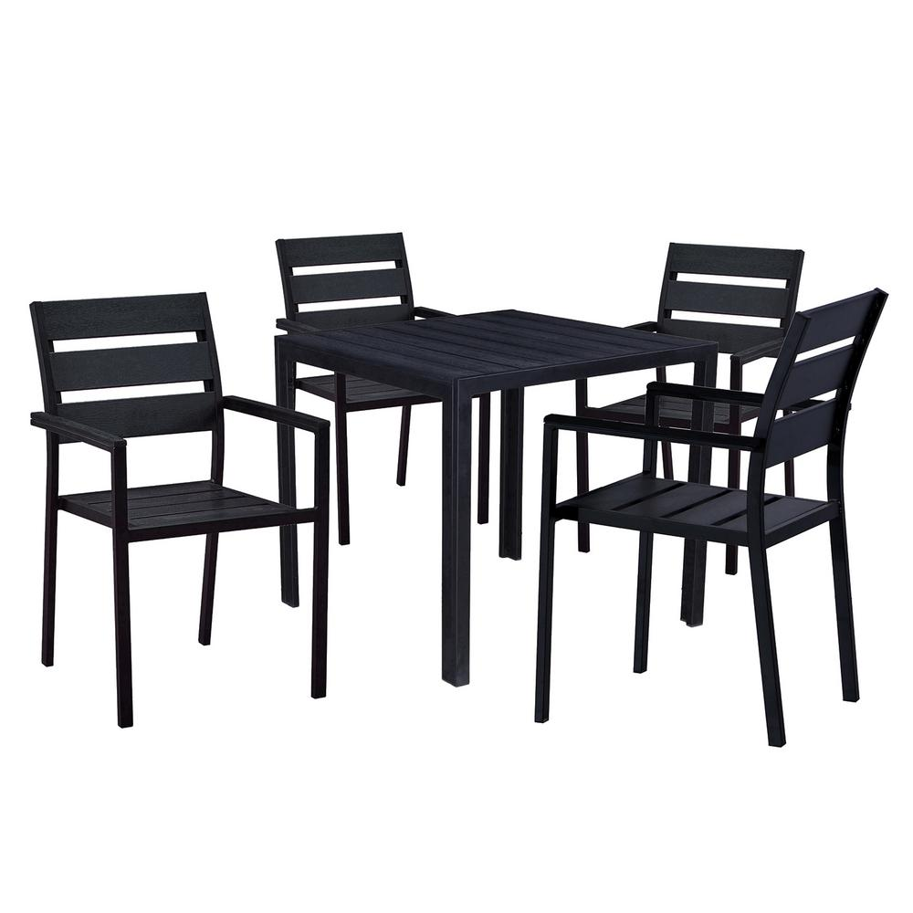 Modern Contemporary 5-Piece Black Metal Square Outdoor Dining Set with Faux  Wood and Stackable Chairs