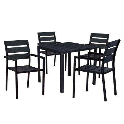 Modern Contemporary 5 Piece Black Metal Square Outdoor Dining Set With Faux Wood And Stackable