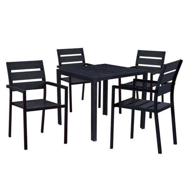 Unbranded Modern Contemporary 5 Piece Black Metal Square Outdoor Dining Set With Faux Wood And Stackable Chairs Hd911 701 4 Bk The Home Depot