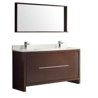 Allier 60 in. Double Vanity in Wenge Brown with Glass Stone Vanity Top in White with White Basins and Mirror
