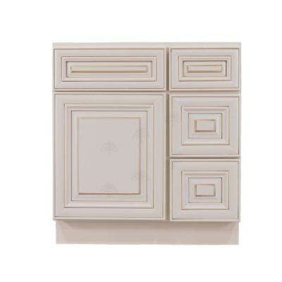 Assembled 30 in. W x 21 in. D x 33 in. H Bath Vanity Cabinet Only with 1-Door 2-Right Drawers in Creamy White Glazed