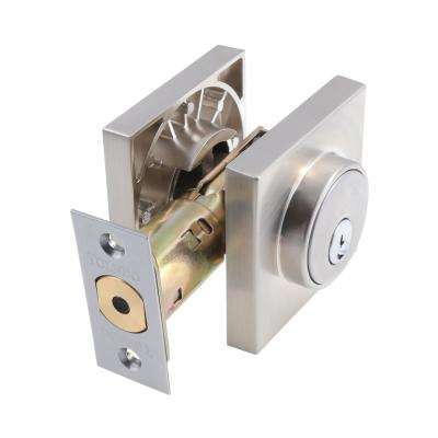 European Square Rosette Stainless Steel Double Cylinder Deadbolt