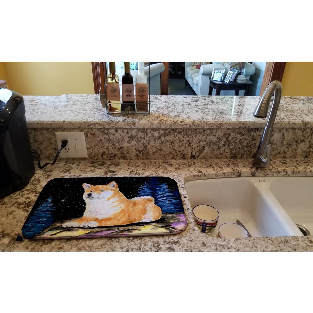 14 in. x 21 in. Multicolor Starry Night Shiba Inu Dish Drying Mat