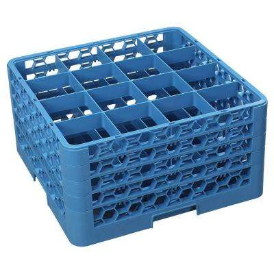 19.75x19.75 in. 16-Compartment 4 Extender Glass Rack (for Glass 4.19 in. Diameter, 9.50 in. H) in Blue (Case of 2)