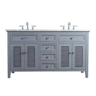 60 in. Genevieve Double Sink Vanity in Gray with Marble Vanity Top in Carrara with White Basin