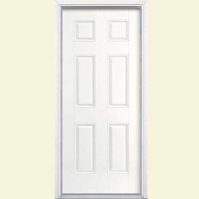 32 in. x 80 in. 6-Panel Ultra Pure White Left Hand Inswing Painted Smooth Fiberglass Prehung Front Door w/ Brickmold