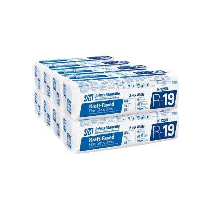 R-19 Kraft Faced Fiberglass Insulation Batt 15 in. x 93 in. (8-Bags)